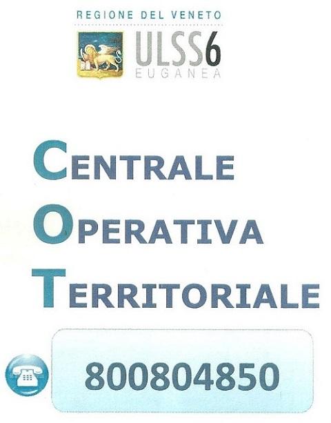 Per emergenze è possibile chiamare la C.O.T. dell'ULSS 6 Euganea