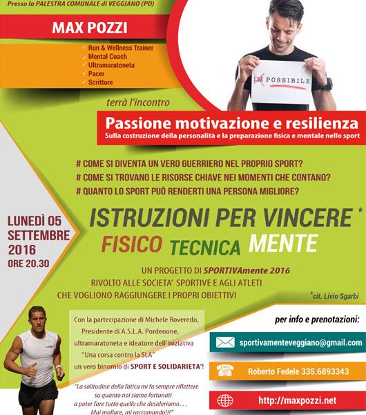 """L'incontro di Max Pozzi """"Passione, motivazione e resilienza"""" a Veggiano"""
