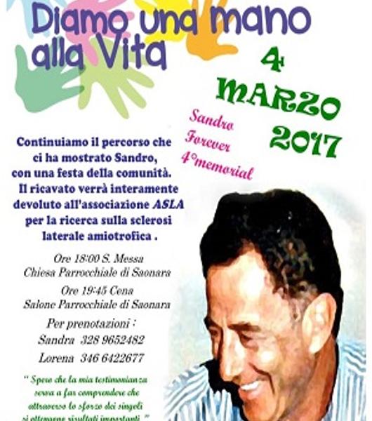 """""""Diamo una mano alla vita"""" – Festa della comunità di Saonara per Sandro Boscaro"""